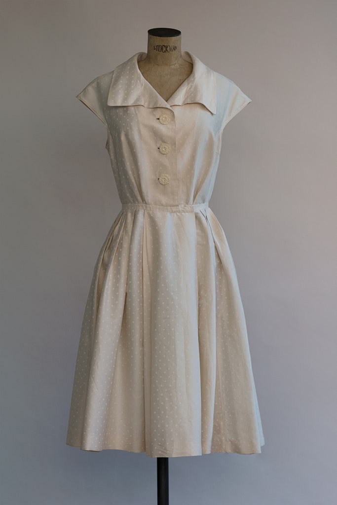 Begur Dress | 50s Cream Polka Dot Dress