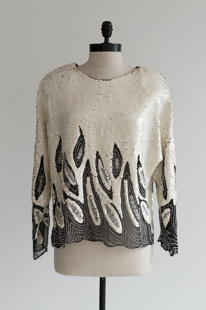 80s sequined blouse