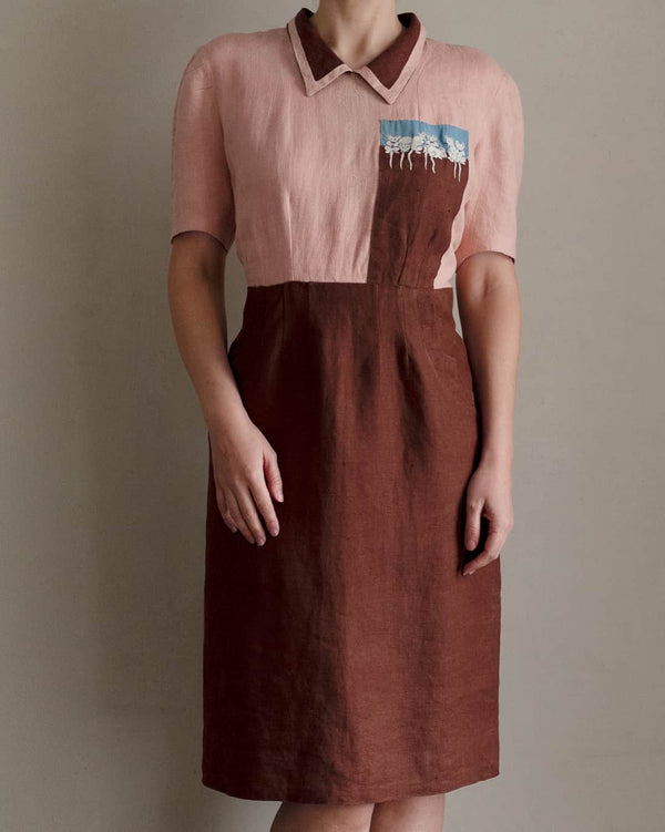1940s Embroidered Linen Dress