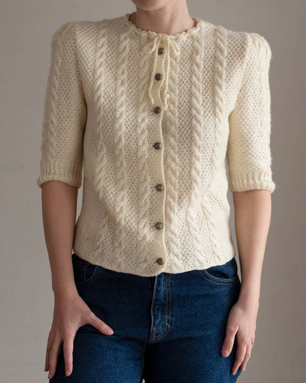 70s Cream Hand Knit Cardigan