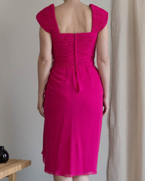 80s Pink Draped Cocktail Dress