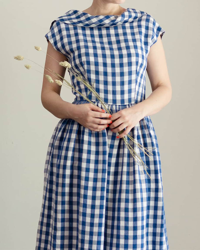 90s Blue and White Gingham Dress