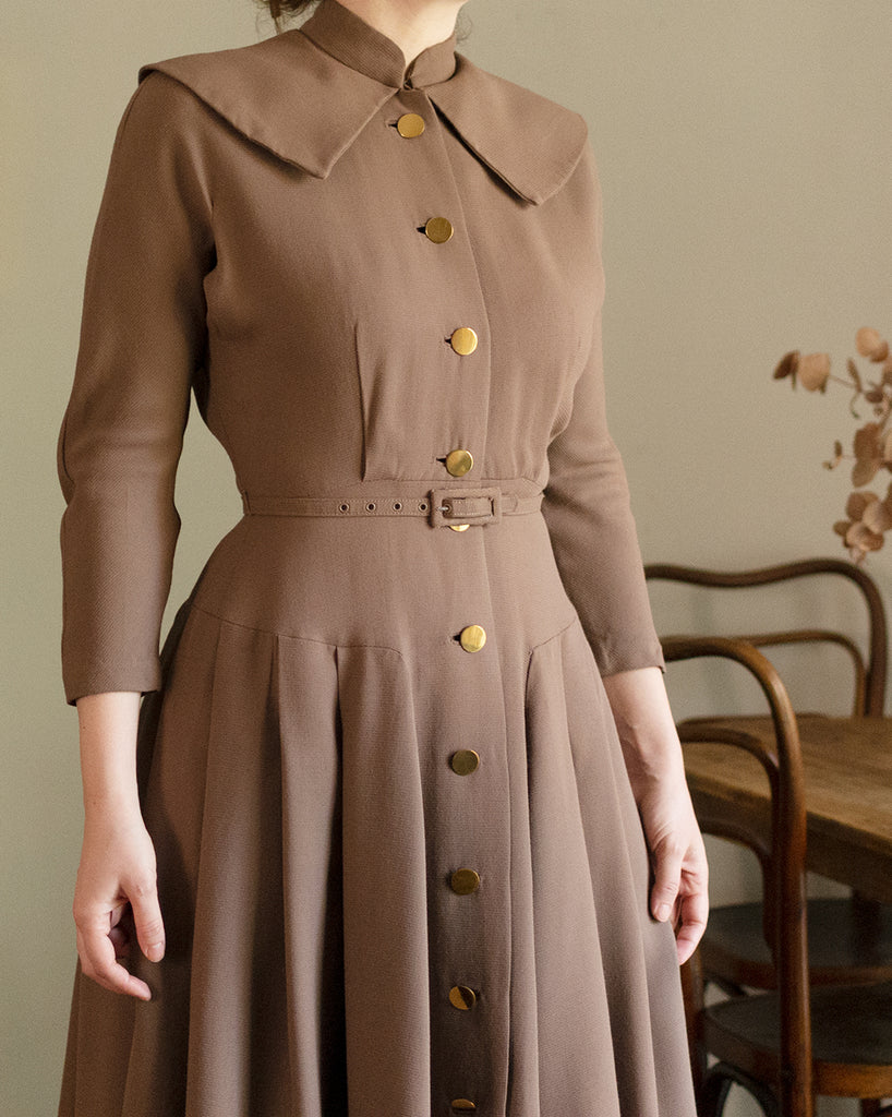 Vintage 1940s Taupe Button Down Dress