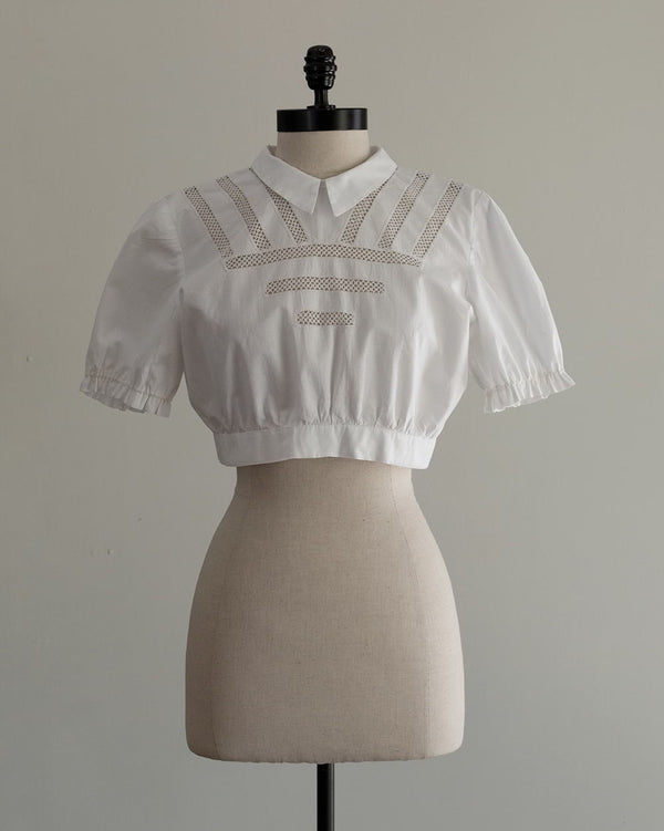Vintage 1930s White Cropped Blouse