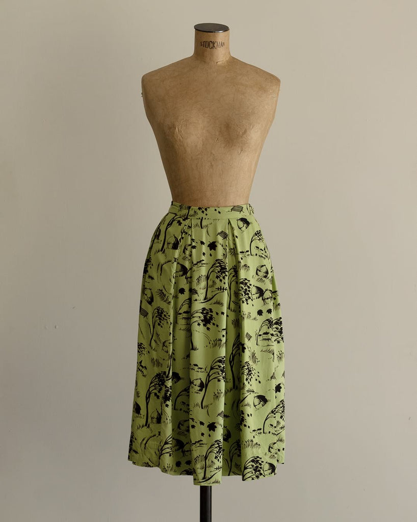 Vintage 1940s Novelty Print Skirt