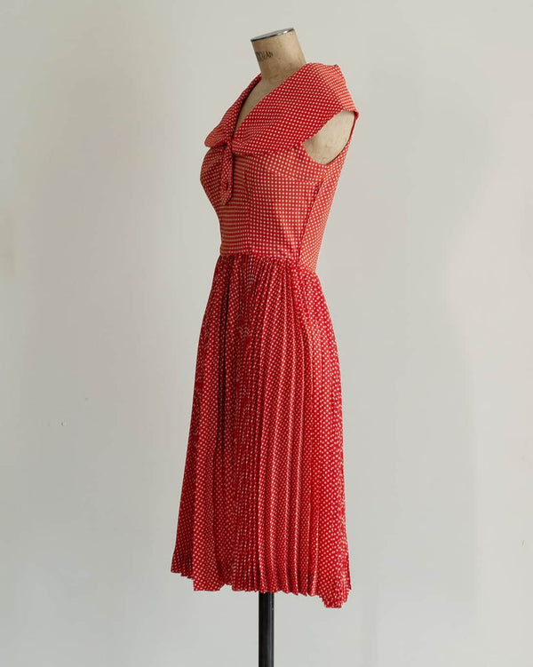 Vintage 1970s Red & White Polka Dot Dress
