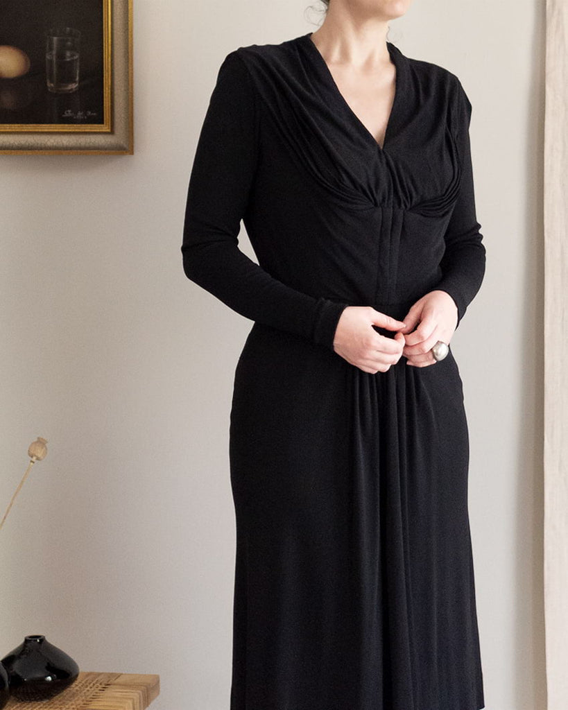 Vintage 40s Black Front Hook & Eye Dress