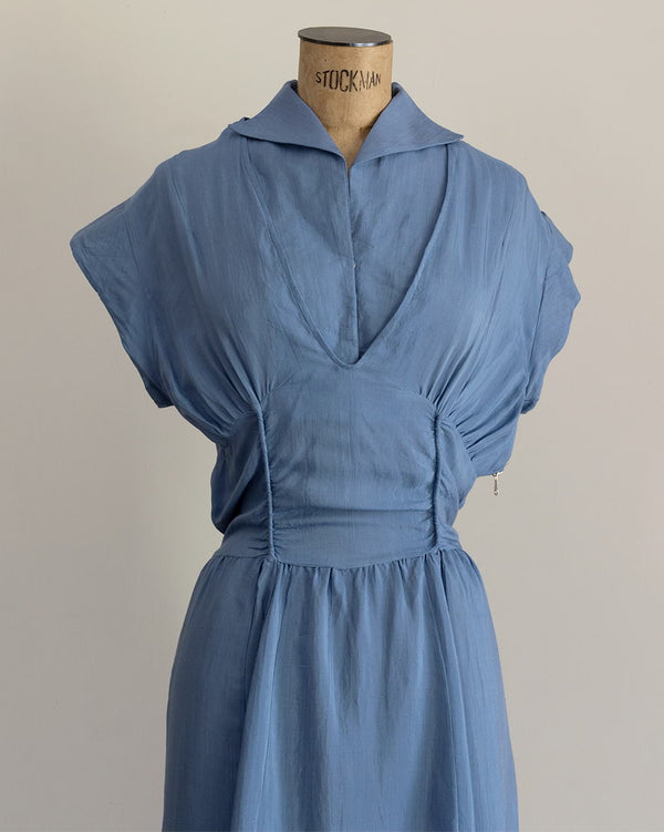 Vintage 40s Blue Detachable Collar Gown