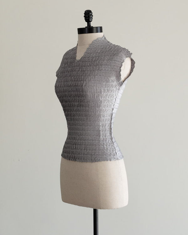 Vintage 1990s Grey Satin Crinkle Top