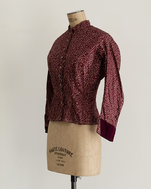 Antique Burgundy Calico Blouse
