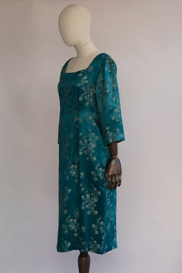 Soft As A Feather Dress | 1960s Brocade Silk Teal Dress