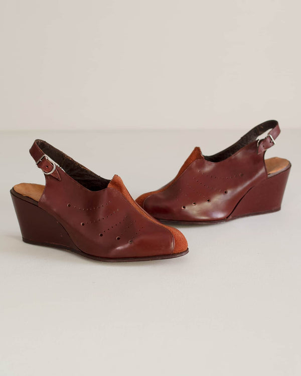 Deadstock Vintage Leather & Suede 40s Wedges