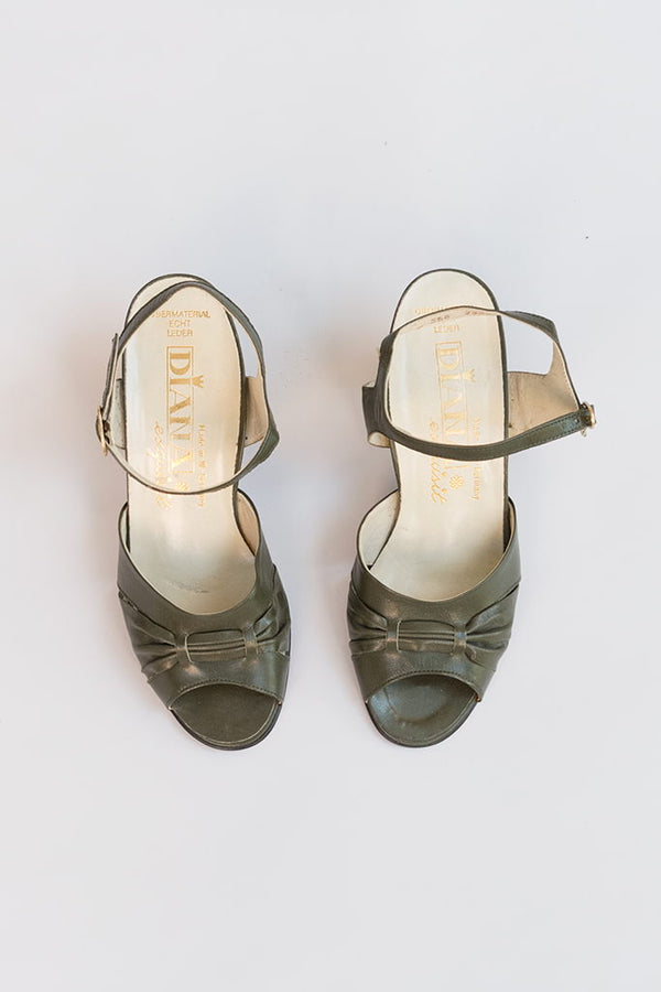 Meissen Sandals | 70s Green Leather Sandals