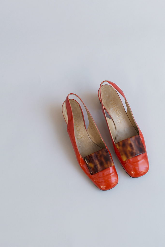 orange patent leather shoes