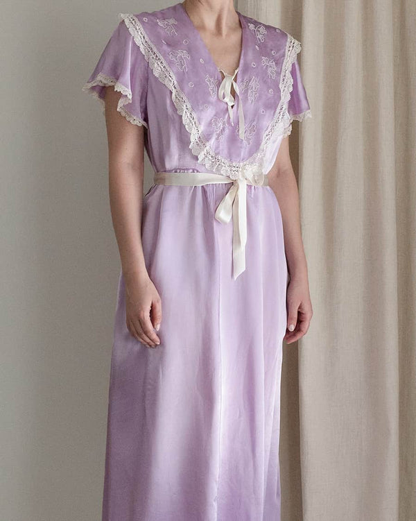 Vintage 1940s Lavender Satin Nightgown