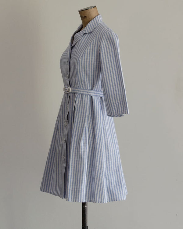 Vintage 60s Striped Mini Shirt Dress
