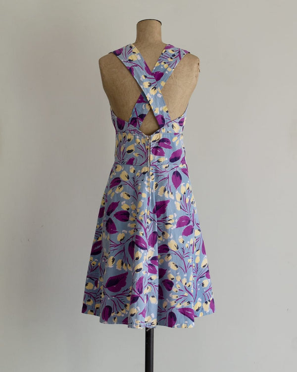 Vintage 70s Floral Cross Back Dress
