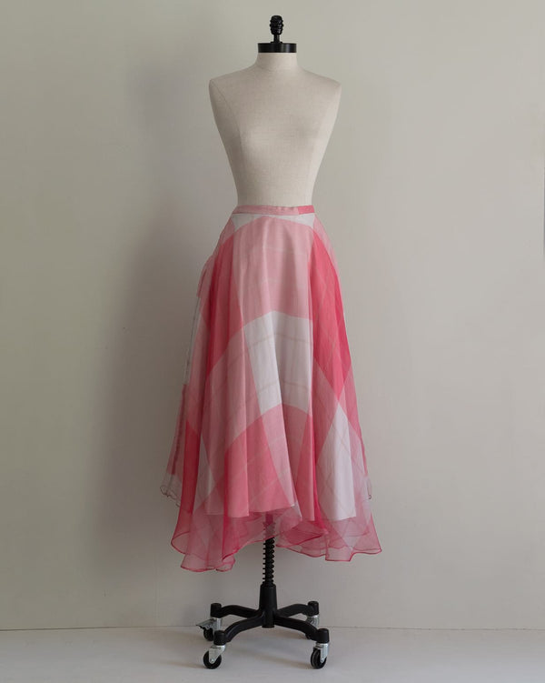 Vintage 70s Pink Plaid Skirt
