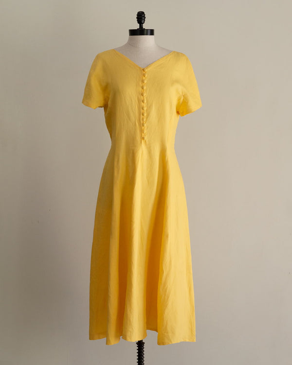 Vintage Yellow Linen Midi Dress