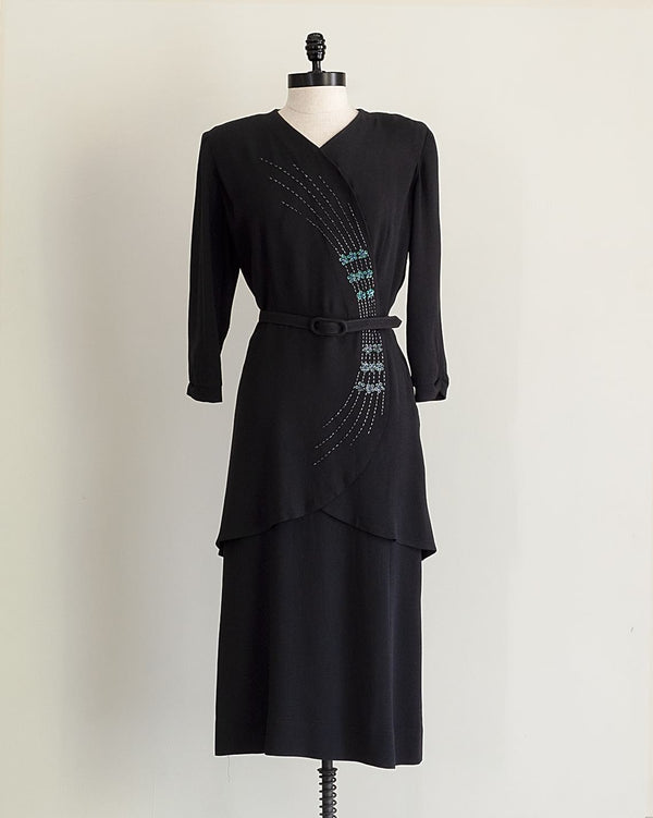 Vintage 1940s Black Sequined Dress