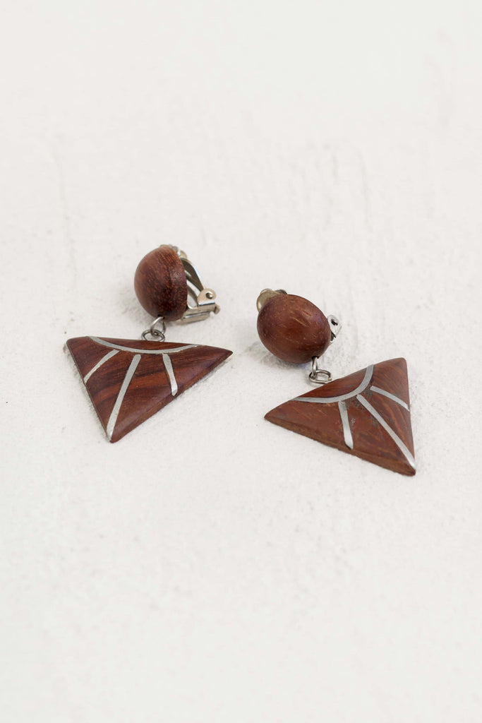 vintage 80s wood dangle earrings