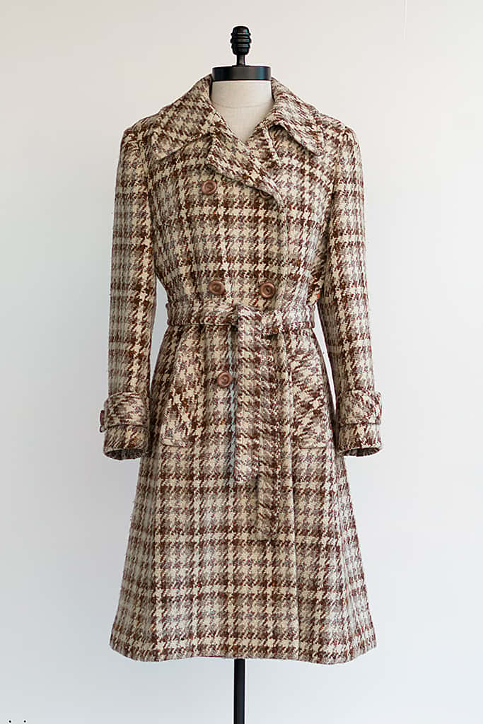 70s Vintage Wool Houndstooth Coat