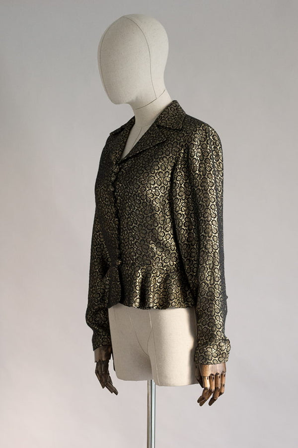 New Decade Jacket | Gold & Black 70s Peplum Jacket