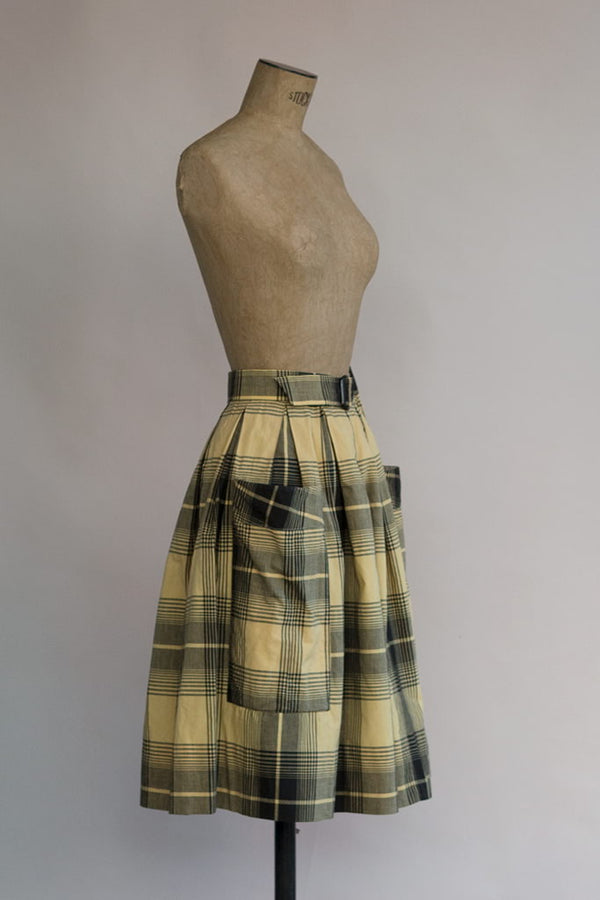 Septiembre Skirt | Yellow Plaid 60s Skirt
