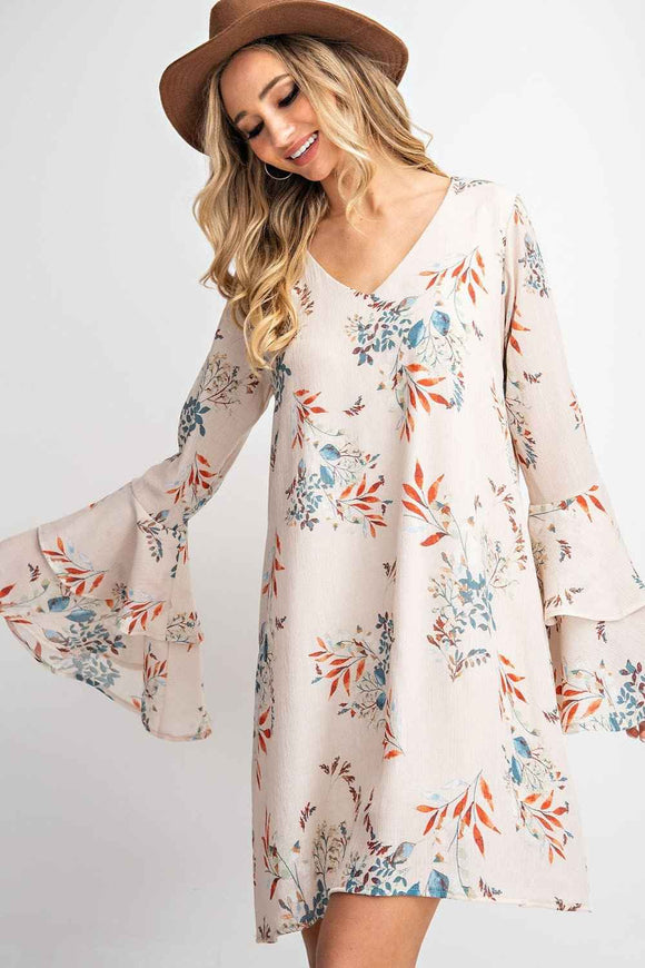 FLORAL PRINT DOUBLE BELL SLEEVE MIDI DRESS