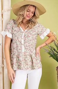 FLORAL EYELET JACQUARD BUTTON UP TOP