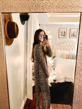 Animal Print Open Front Long Cardigan with Side Slits