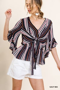 Striped Ruffle Bell Sleeve Top