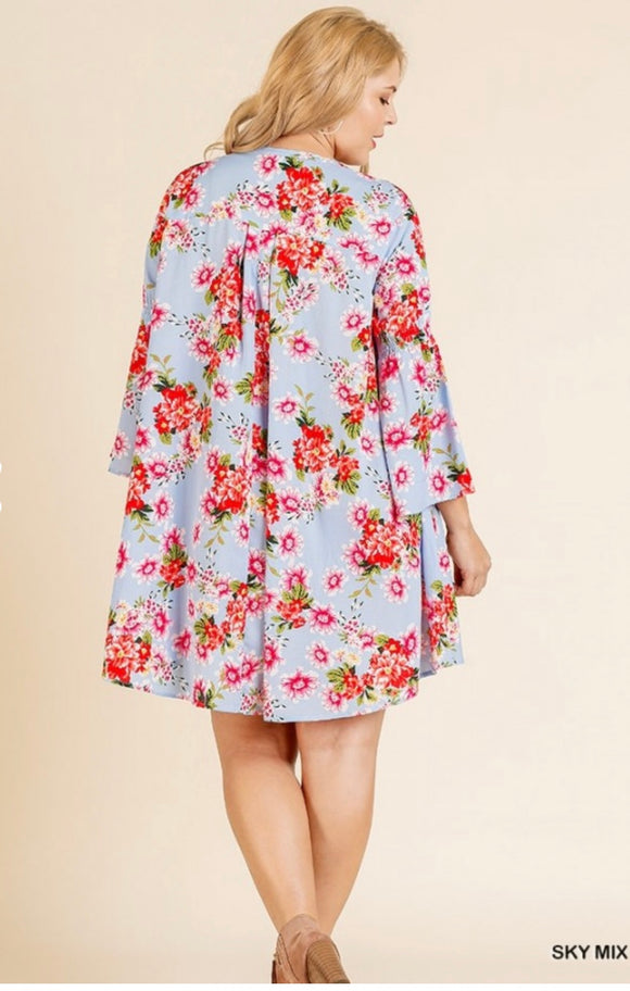 Floral Print Bell Sleeve Dress