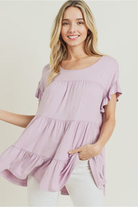 Lilac Tiered Ruffle Top