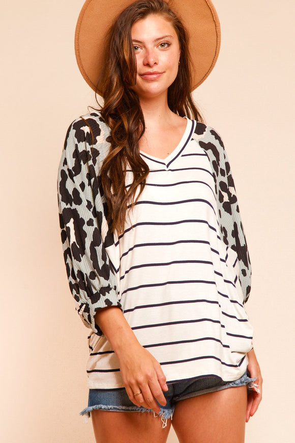 Plus Mint Animal Stripe Raglan Blouse