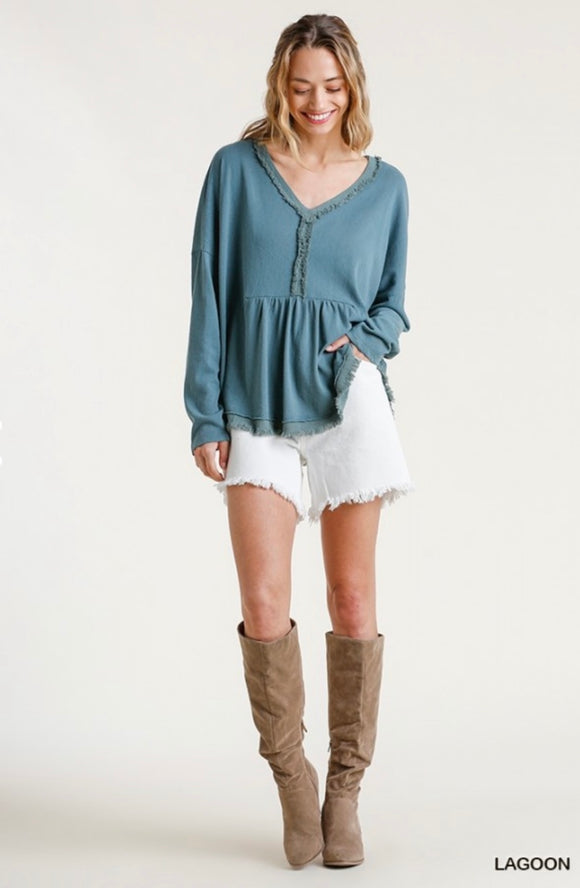 Oh So Cute Frayed Edge Babydoll Top