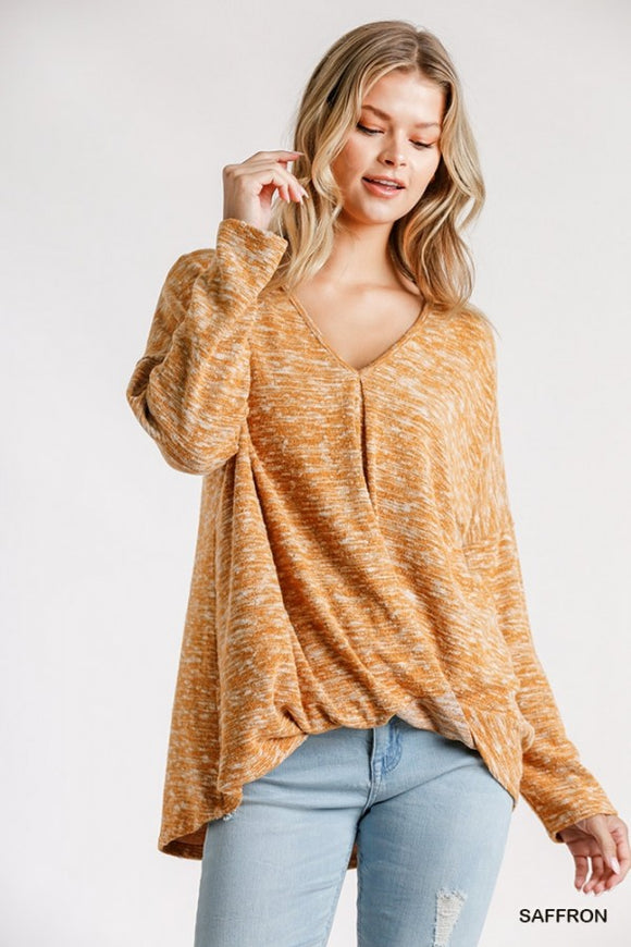 Saffron Gathered Waist Knit Top