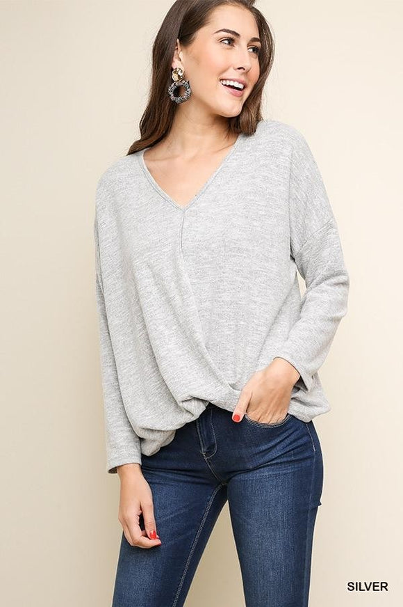 Silver Gathered Waist Knit Top