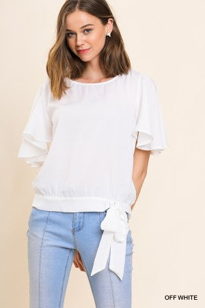 White Short Ruffle Sleeve Top