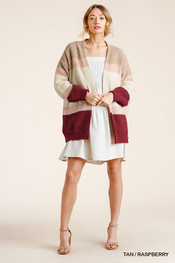 Color block  Cardigan with Ribbed Hem