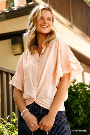 Collared Button Up Gathered Top