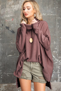 SOFT SOLID COWL NECK PONCHO