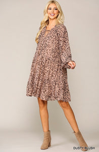 Animal Print Ruffled Dress