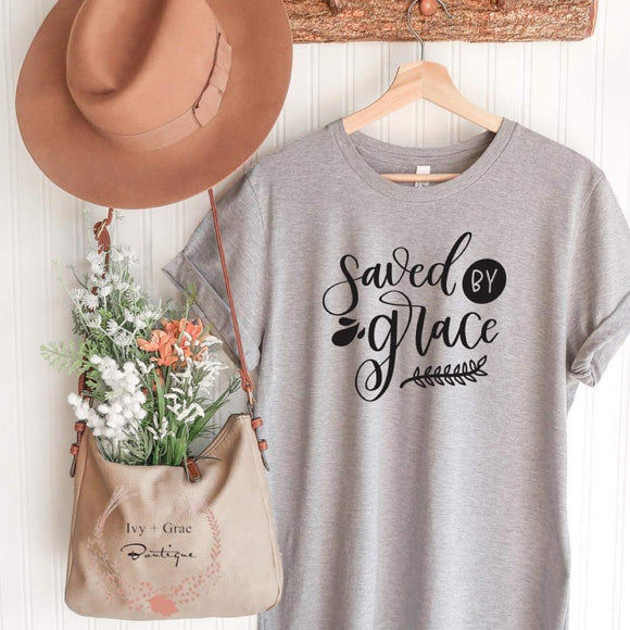 Saved by Grace- Grey T-shirt