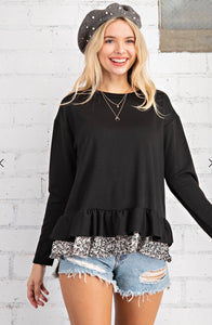 FRENCH TERRY LONG SLEEVE RUFFLED BOTTOM