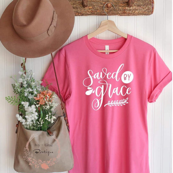 Saved by Grace- Pink T-shirt