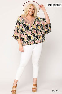 Floral Print Lace Mixed Flutter Sleeve Top