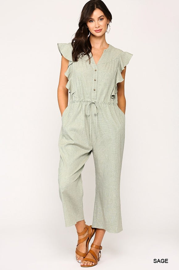 Striped Button Down Drawstring Ruffled Jumpsuit