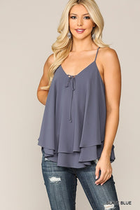 Chiffon Solid Double Layered Cami