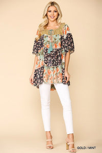 Floral Chiffon Print Peasant Top with Tassel